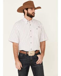 Ariat Men's VentTek Drift Small Plaid Short Sleeve Western Shirt , White, hi-res