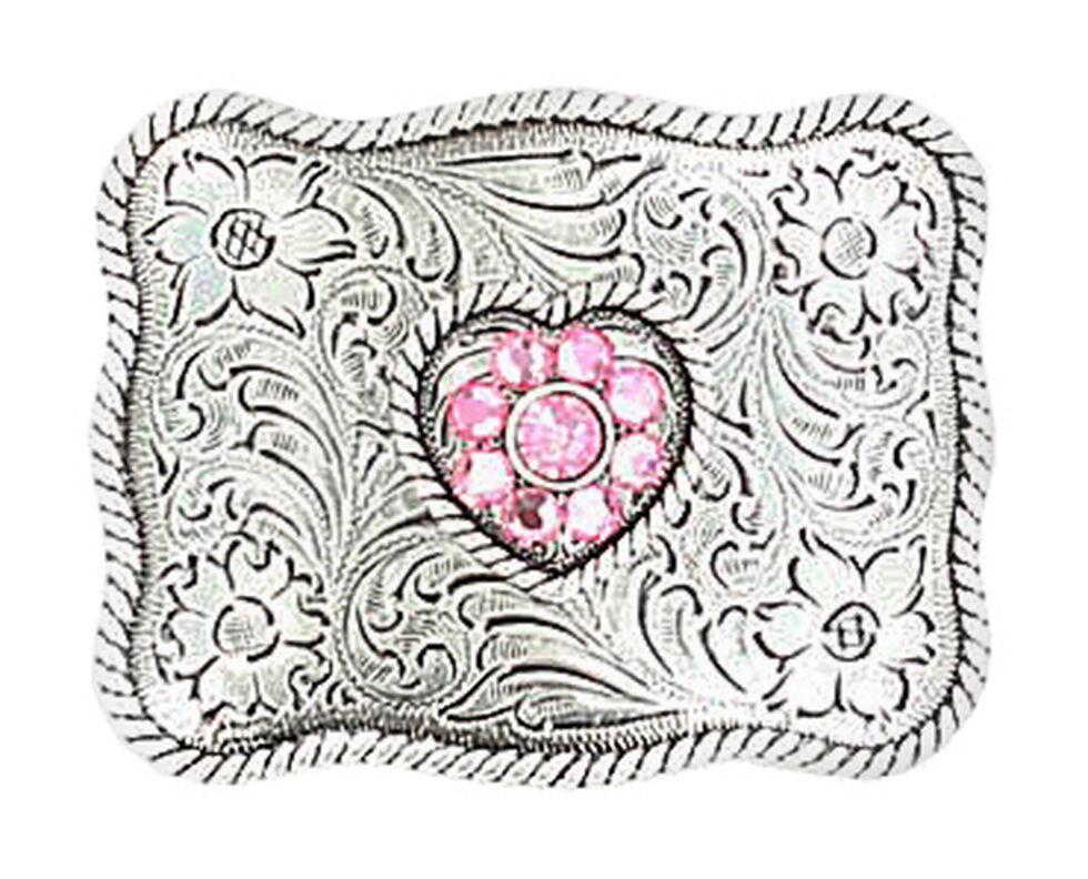 M & F Western Girls' Pink Crystal Heart Belt Buckle, Silver, hi-res