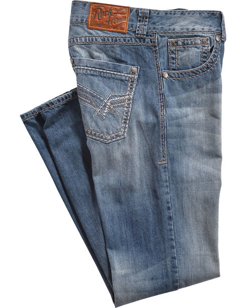 Wrangler Rock 47 Men's Relaxed Medium Dark Stonewash Jeans - Boot Cut, Light Blue, hi-res