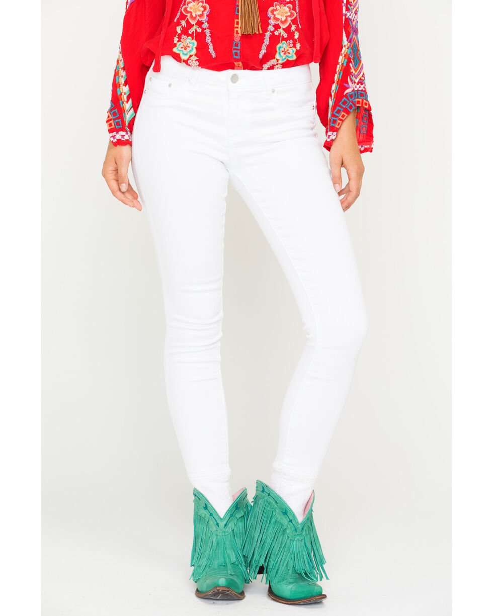Tractr Women's White Basic Fray Hem Skinny Jeans, White, hi-res