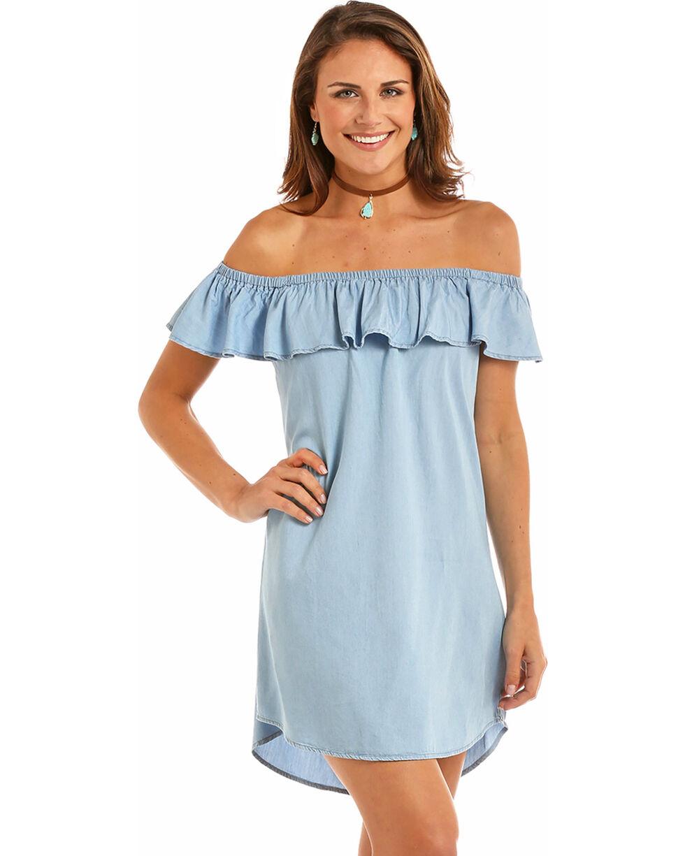 Rock & Roll Cowgirl Women's Indigo Tencel Ruffle Dress , Indigo, hi-res