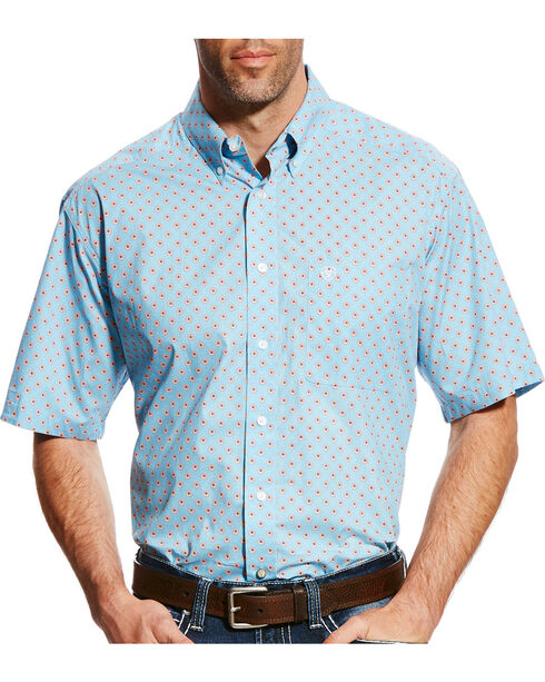 Ariat Men's Casual Series Falken Print Short Sleeve Button Down Shirt - Big & Tall, Blue, hi-res