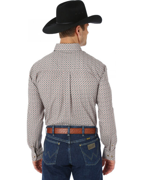 Wrangler George Strait Chestnut and Red Print Western Shirt, Chestnut, hi-res