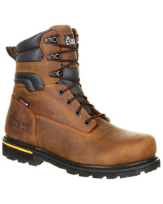 """Rocky Men's Governor Waterproof 8"""" Work Boots - Composite Toe, Brown, hi-res"""