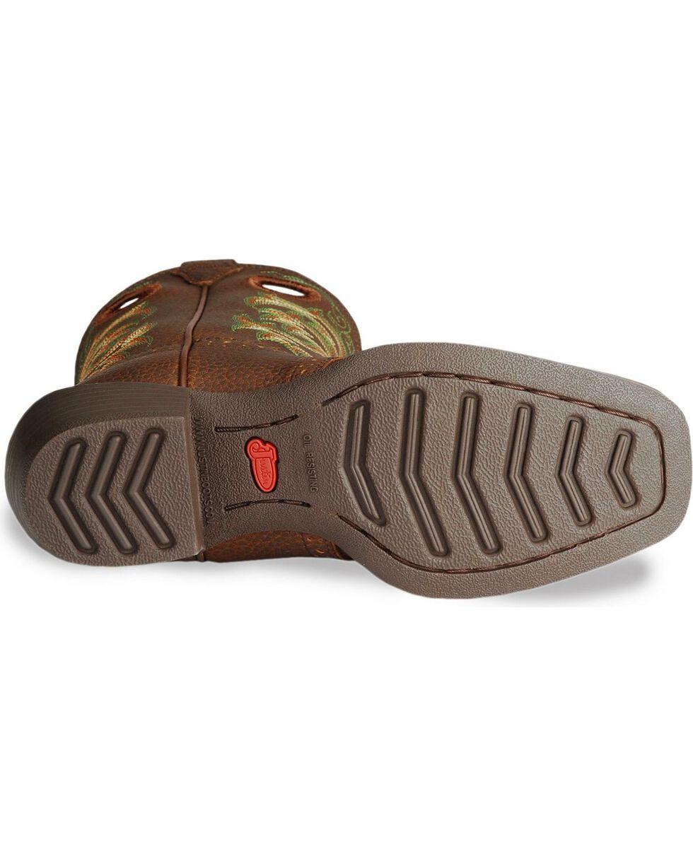 Justin Youth Boys' Junior Stampede Cowboy Boots, Dark Brown, hi-res
