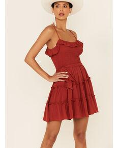 Luna Chix Women's Rust Smocked Tiered Dress, Rust Copper, hi-res