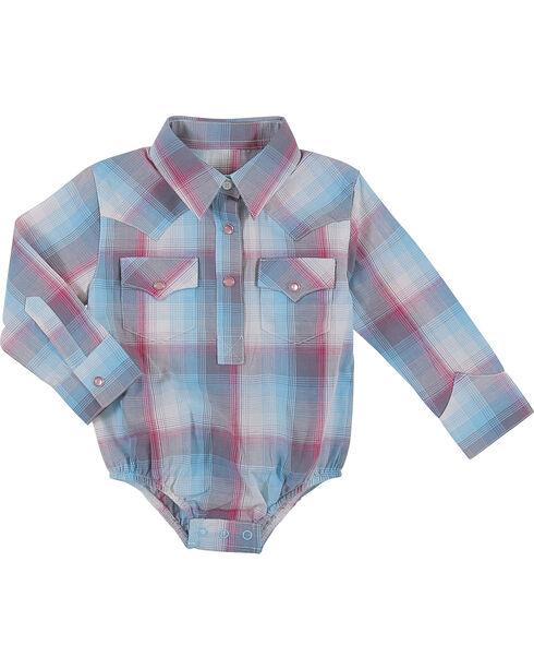 Wrangler Infant Girls Turquoise Plaid Onesie , Turquoise, hi-res