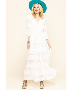 A Collective Story Women's White Lace Button Front Maxi Dress  , Ivory, hi-res