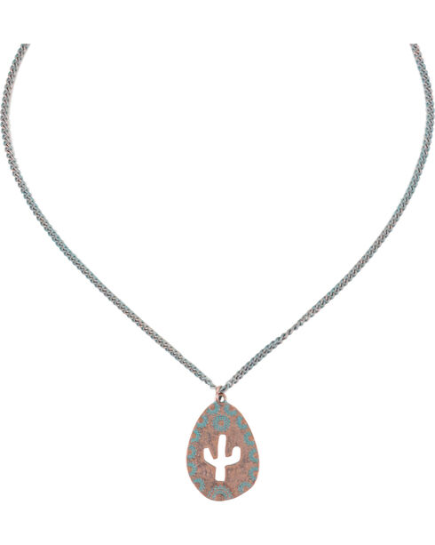 Shyanne Women's Cactus Cutout Necklace , Turquoise, hi-res