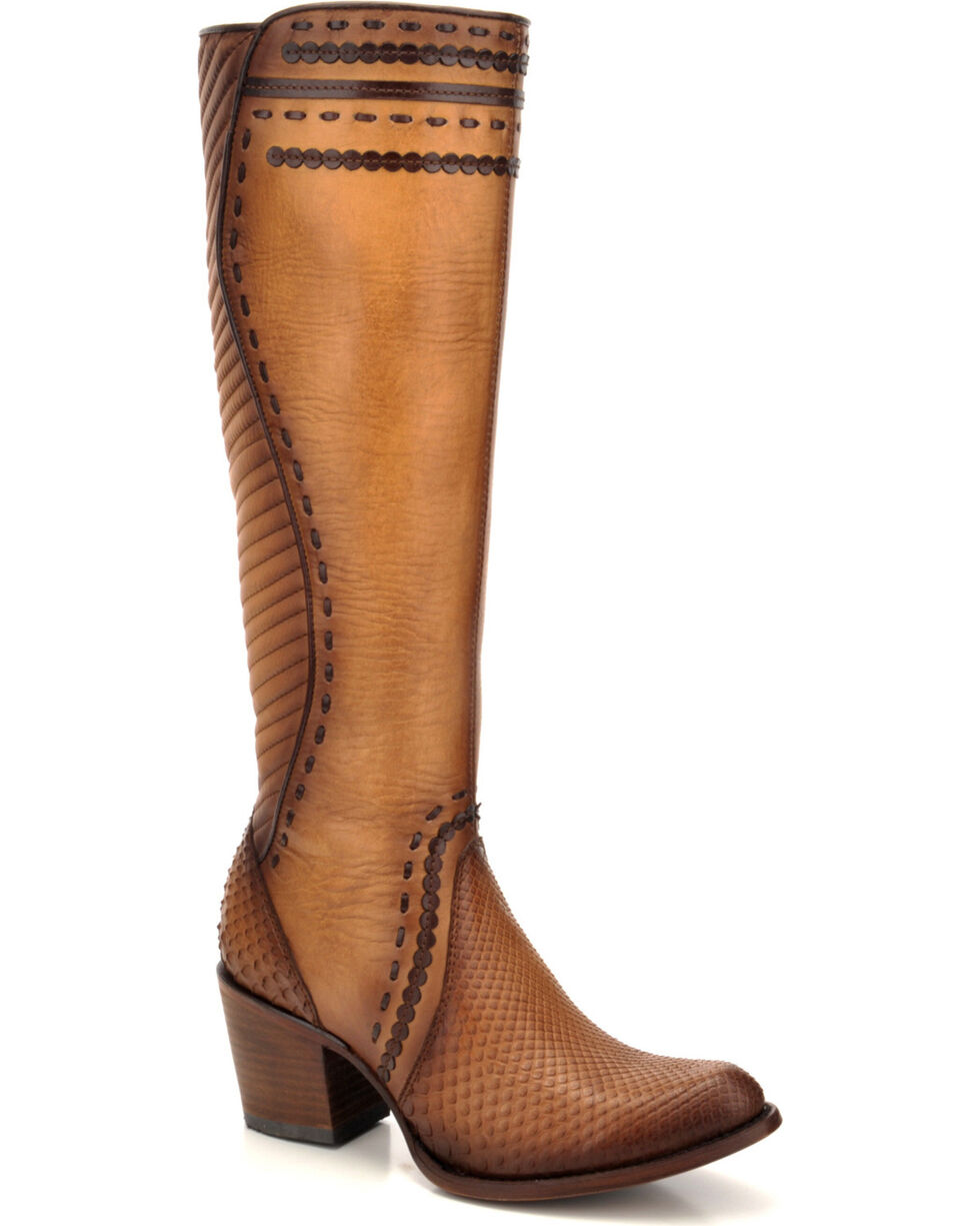 Corral Women's Brown Python Leather Western Tall Boots - Round Toe , Lt Brown, hi-res