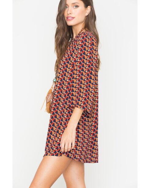 Miss Me Multi Red 3/4 Sleeve Printed Shift Dress, Multi, hi-res
