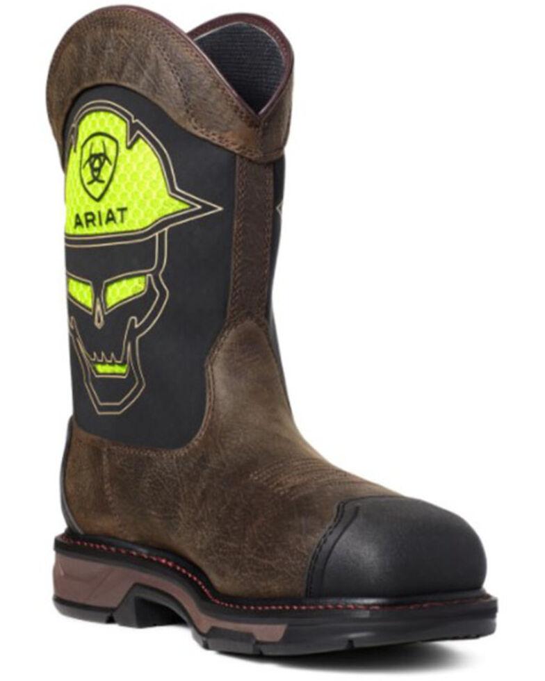 Ariat Men's VentTEK Workhog Skull Western Work Boots - Carbon Toe, Brown, hi-res