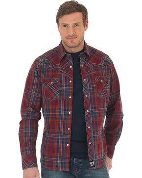Wrangler Rock 47 Men's Plaid Two Pocket Snap Shirt - Big & Tall, Red, hi-res