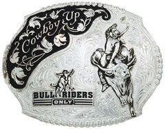 Montana Silversmiths Cowboy Up Bull Riders Only Western Belt Buckle, Silver, hi-res