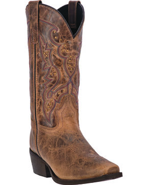 Laredo Women's Cassie Studded Cowgirl Boots - Square Toe, Taupe, hi-res