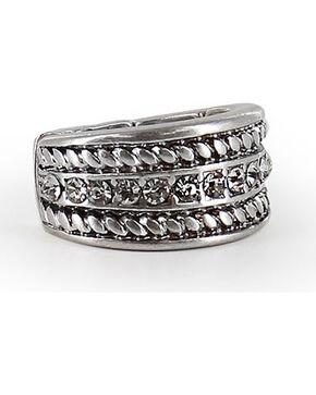 Shyanne Women's Twisted Rope Rhinestone Ring, Silver, hi-res