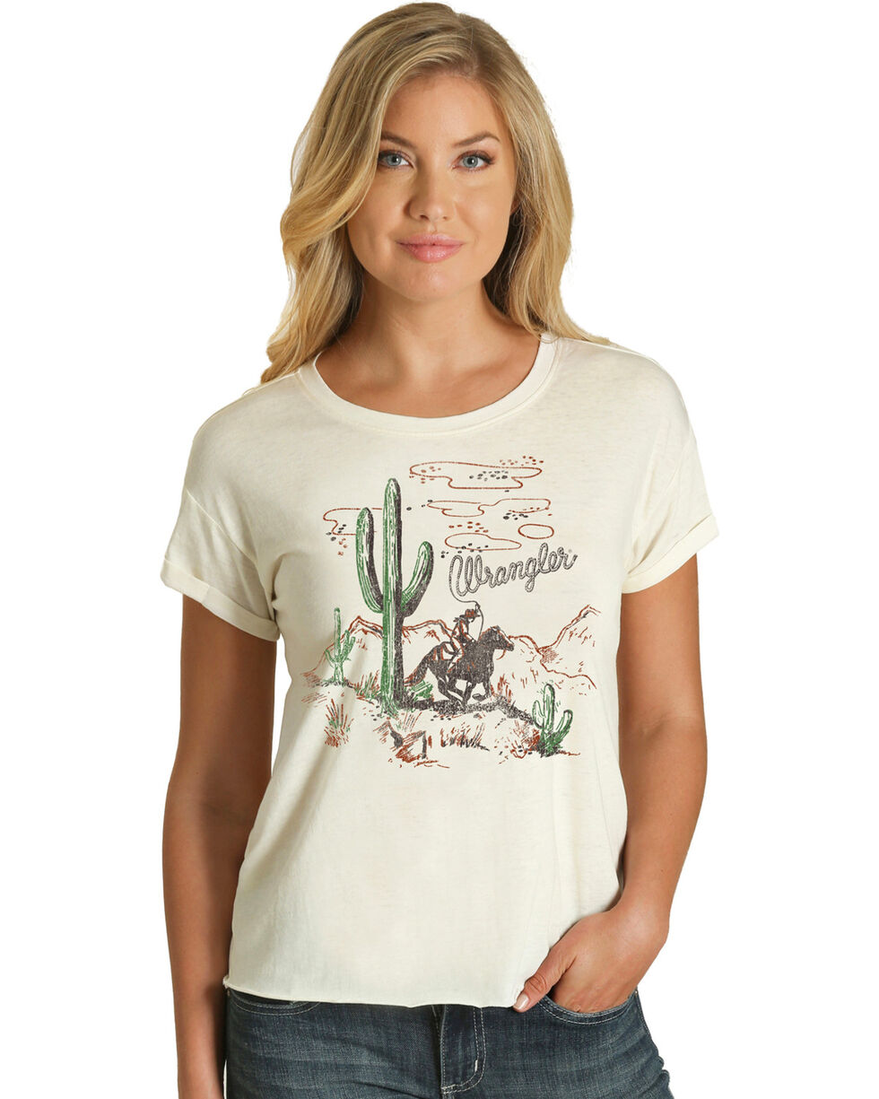 Wrangler Women's Cream Cactus Screenprint Tee , Cream, hi-res