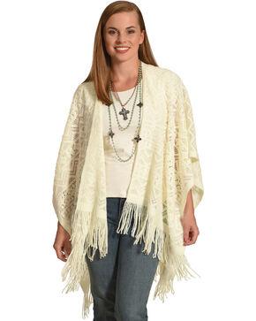 Shyanne Women's Crochet Knit Blanket Scarf , Cream, hi-res