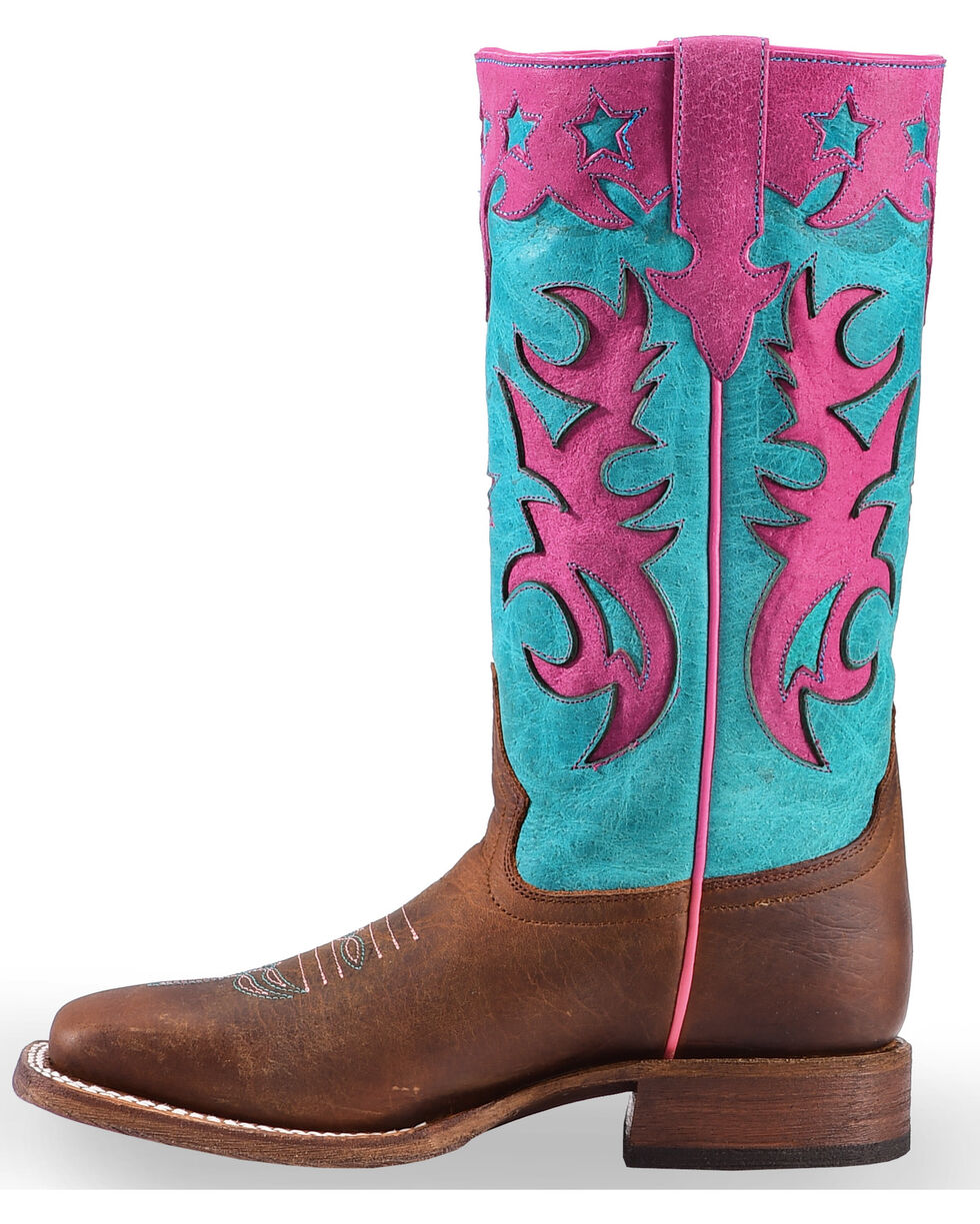 Macie Bean Girls' Turquoise Sinsation Cowgirl Boots - Square Toe , Brown, hi-res