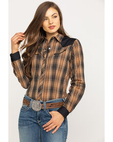 Karman Women's Brown Plaid Long Sleeve Western Shirt, Brown, hi-res