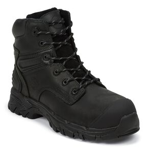 "Justin Men's Work Tek 6"" Waterproof Lace-Up Work Boots - Composite Toe, Black, hi-res"