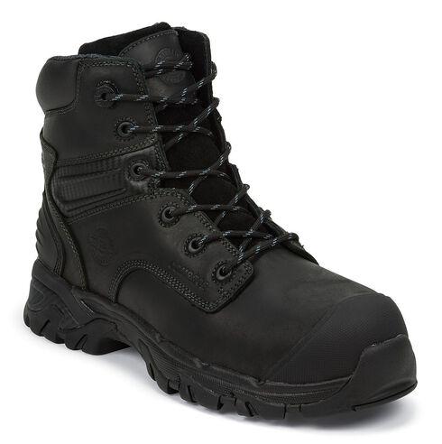 "Justin Men's Work Tek 6"" Waterproof Lace-Up Work Boots - Composite Toe, Black, hi-res"