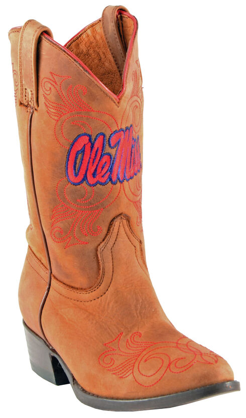 Gameday Boots Girls' University of Mississippi Western Boots - Medium Toe, Honey, hi-res