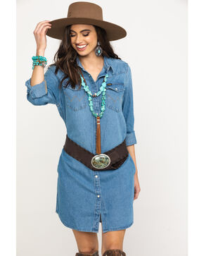 Wrangler Women's Heritage West Dress, Indigo, hi-res
