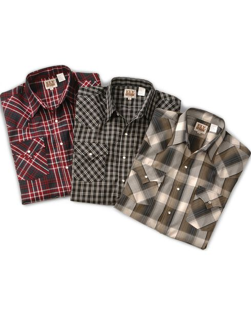 Ely Assorted Long Sleeve Western Shirt - Big, Tall, Big/Tall, Plaid, hi-res