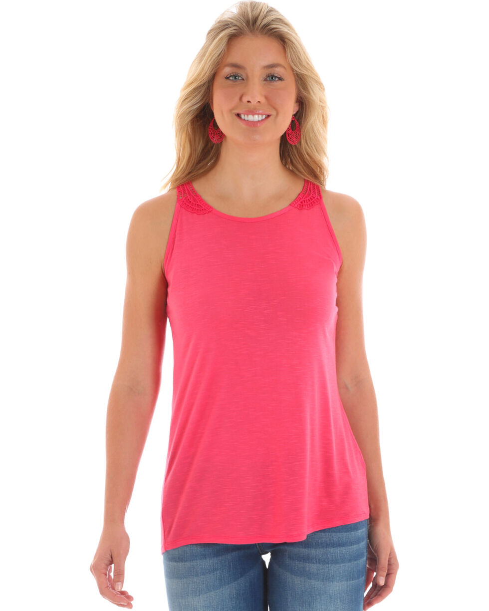 Wrangler Women's Pink Sleeveless Crotchet Trim Tank , Pink, hi-res