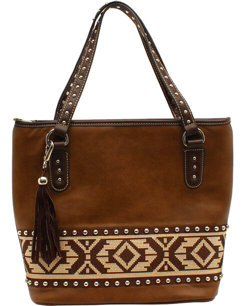 Blazin Roxx Shania Collection Aztec Ribbon Tote, Brown, hi-res