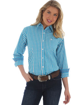 Wrangler Women's Blue George Strait Plaid Shirt , Multi, hi-res