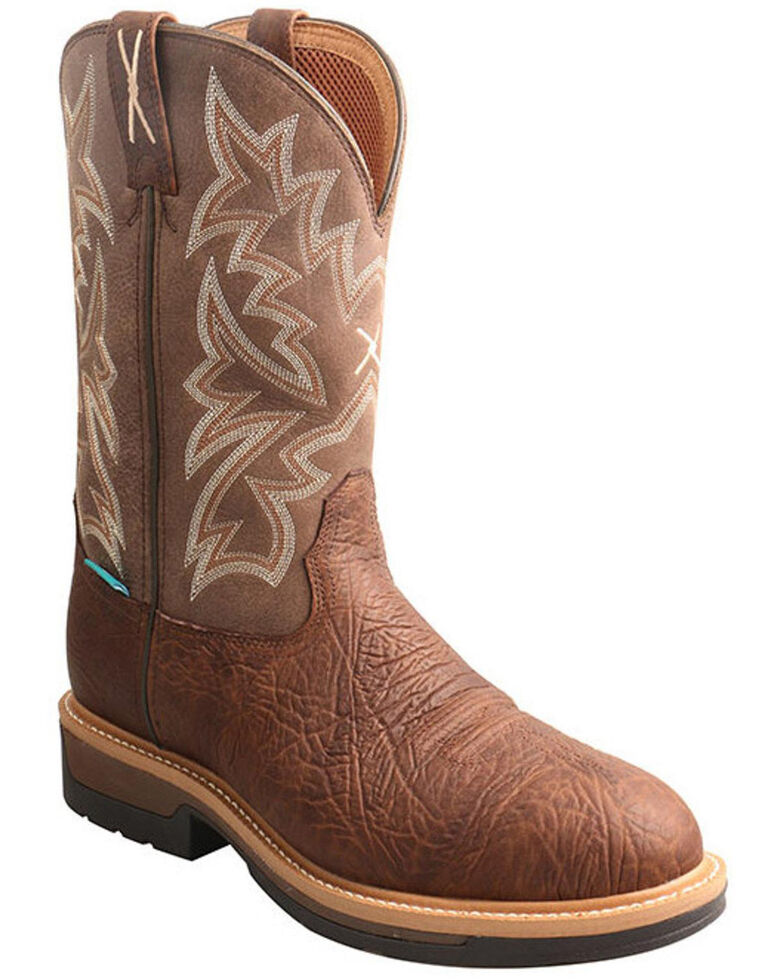 Twisted X Men's Lite Cowboy Western Work Boots - Composite Toe, Brown, hi-res