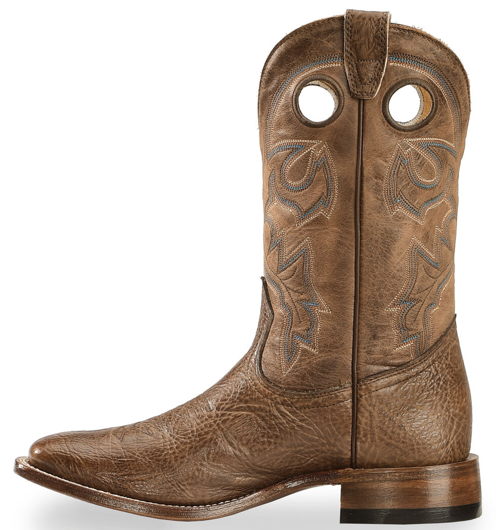 Boulet Stockman Cowboy Boots - Wide Square Toe, Dark Brown, hi-res