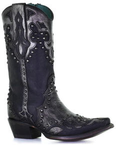 Corral Women's Black Silver Overlay Western Boots - Snip Toe, Black, hi-res