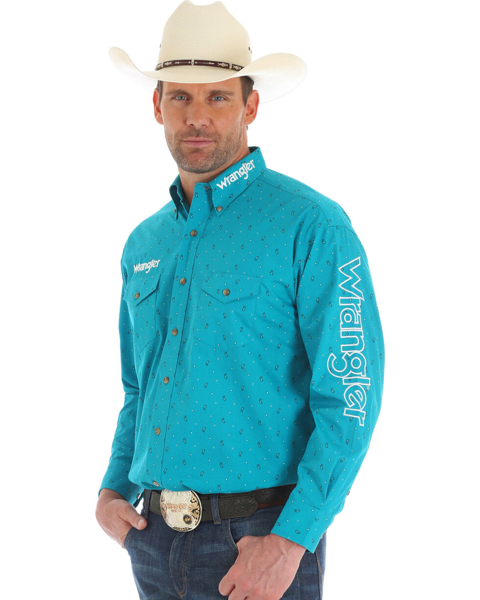 Wrangler Men's Turquoise Logo Long Sleeve Button Down Shirt, Turquoise, hi-res