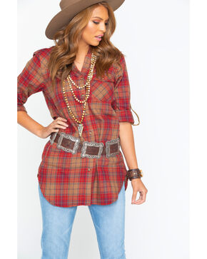 Tasha Polizzi Women's Plaid Highland Shirt , Red, hi-res