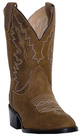 Dan Post Youth Boys' Shane Cowboy Boots - Round Toe, Tan, hi-res