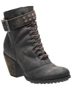 Harley Davidson Women's Calkins Moto Boots - Round Toe, Black, hi-res