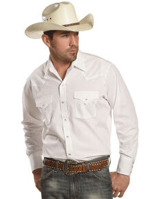 Ely Cattleman Men's Solid Long Sleeve Western Shirt, White, hi-res