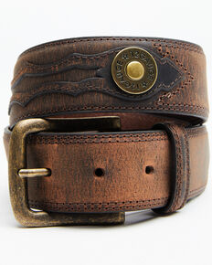 Cody James Men's 12 Gauge Ornament Belt, Brown, hi-res