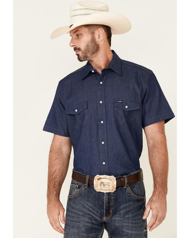 Wrangler Men's Solid Twill Short Sleeve Work Shirt, Indigo, hi-res