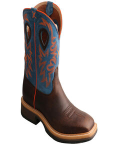 Twisted X Men's Embroidered Western Work Boots , Dark Brown, hi-res