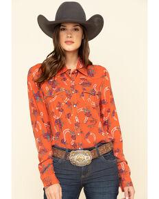 Cruel Girl Women's Rust Horseshoe Rose Print Long Sleeve Western Shirt , Rust Copper, hi-res