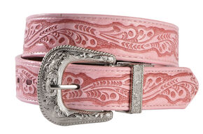 Exclusive Gibson Trading Co. Girls' Embossed Black & Brown Reversible Belt, Pink, hi-res