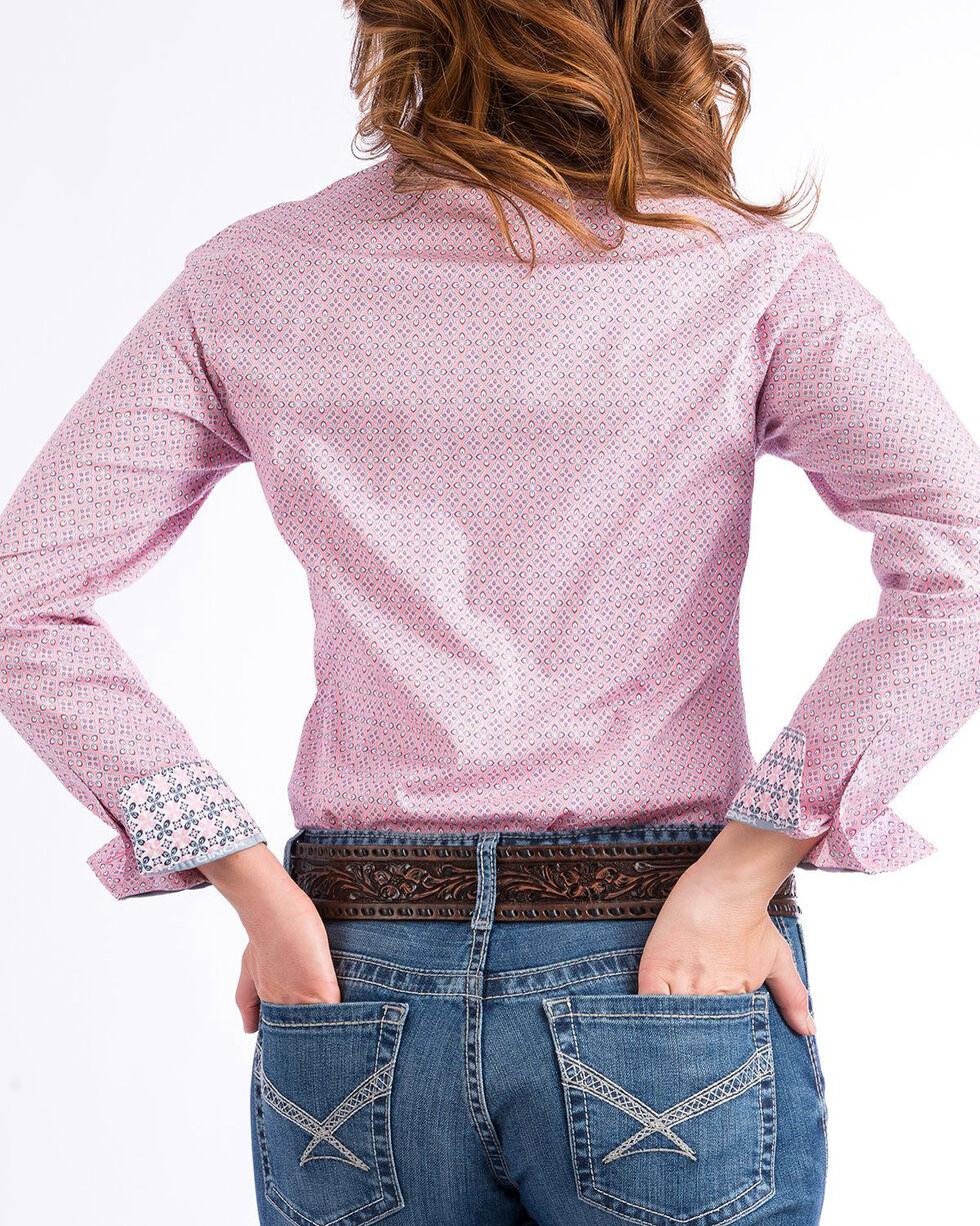 Cinch Women's Pink Floral & Diamond Print Shirt , Pink, hi-res