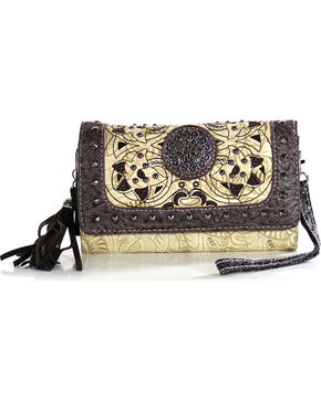 Savana Women's Tooled Bone Studded Wristlet Wallet, Ivory, hi-res