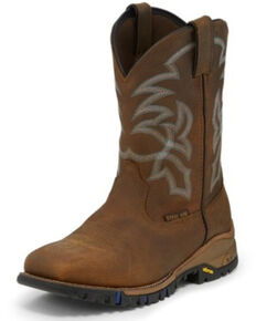 Tony Lama Men's Roustabout Waterproof Western Work Boots - Steel Toe, Tan, hi-res