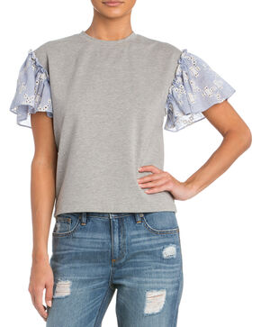 Miss Me Women's Flutter Sleeve Top , Grey, hi-res