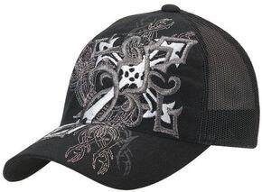 Blazin Roxx Diagonal Cross Embroidered Flex Fit Cap, Black, hi-res